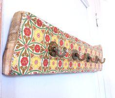 Mediterranean Spanish Vintage style Hanger made with  reclaimed wood from a Spanish olive grove, with aged rustic brass hooks