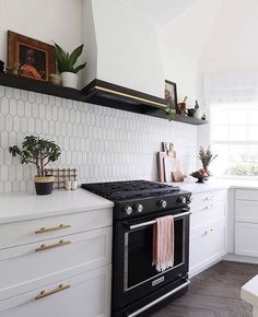 "GAFF Interiors on Instagram: ""These kitchen tiles are 😍😍. Perfect also in the bathroom. And the gold cabinet handles complete the look. #kitchen #bathroom #GAFF"""