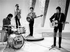 Photo of KINKS and Mick AVORY and Dave DAVIES and Pete QUAIFE and Ray DAVIES; Group performing 'Waterloo Sunset' at Lime Grove L-R Mick Avory, Dave Davies, Pete Quaife and Ray Davies