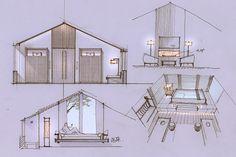 度假酒店客房概念方案。铅笔手绘+PS。2014年。