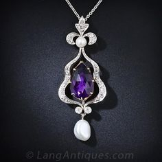 Amethyst, Diamond, and Pearl Pendent