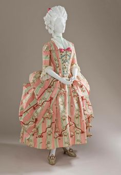 Robe à la polonaise, Spain, fabric: France, 1775. Cream, pink and green striped silk.