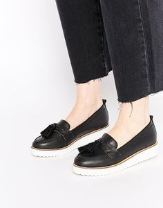 KG+By+Kurt+Geiger+Launch+Black+Contrast+Sole+Loafer+Flat+Shoes