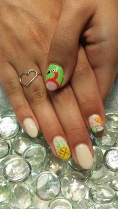 Summer nails pineapple flamingo coconut gel nails
