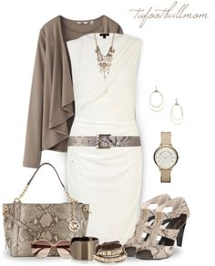 """""""LWD - White & Taupe"""" by tufootballmom ❤ liked on Polyvore"""