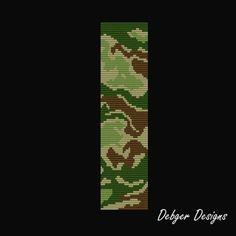 Camouflage Loom Bracelet Cuff Pattern by LoomTomb on Etsy Inkle Weaving Patterns, Bead Loom Patterns, Peyote Patterns, Jewelry Patterns, Bead Weaving, Beading Patterns, Stitch Patterns, Bracelet Patterns, Motifs Perler