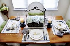 Say Cheese in Blue and White - Back Porch Musings Tablescape