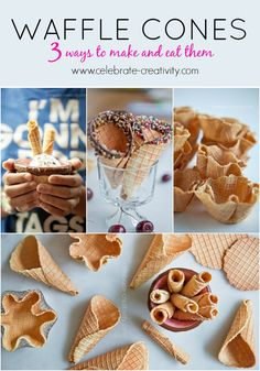 3 Ways to Make and EAT Waffle Cones featured on Ella Claire Inspired. Waffle Recipes, Ice Cream Recipes, Snack Recipes, Dessert Recipes, Waffle Bowl, Waffle Cones, Frozen Desserts, Frozen Treats, Parfait