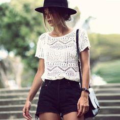 Style festival crop top et short noir