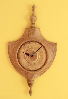 Oak handmade wooden clock, wall clock, wooden clocks, handmade clock - arteavita architecture and design studio - Wall Clock Wooden, Wood Clocks, Wooden Walls, Clock Wall, Art Studio Design, Art Studio At Home, Handmade Clocks, Handmade Wooden, Mason Jar Centerpieces