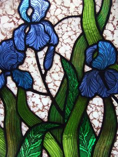 hand painted kiln fired stained glass blue iris panel