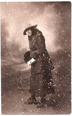 Old Photo - Woman in Snow Scene - Winter - The Graphics Fairy