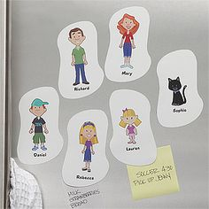Turn each of your family members into a whimsical cartoon figure and include their name on these cute magnets! It's a great way to assign family chores and to keep every one's schedule organized ... you can even choose a character to match your pet! Create them at PMall.com here: http://tinyurl.com/7qmz8hg