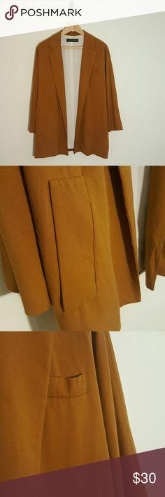 Zara Mustard Oversized Blazer With pockets. Beautiful fall color Zara Jackets & Coats Blazers