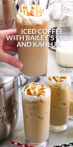 Iced Coffee with Bailey's Irish Cream and Kahlua is the perfect after dinner tre. Iced Coffee with Bailey's Irish Cream and Kahlua is the perfect after dinner treat! This iced coffee recipe is an ea Alcoholic Coffee Drinks, Iced Coffee Drinks, Coffee Drink Recipes, Alcohol Drink Recipes, Non Alcoholic, Fun Drinks, Yummy Drinks, Kahlua Drinks, Kahlua Recipes