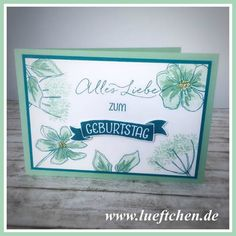 handmade card from Lüftchen Stamp Studio Bergedorf ... monochromatic aquas ... luv how the double and triple stamp images look in just one color on this card ...  Stampin' Up!