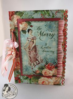 The Twelve Days of Christmas card by Denise Hahn! Love the ribbon and crepe paper on this! #Graphic45 #cards