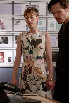 Seen on Celebrity Style Guide: Revenge Style & Fashion: Margaux Lemarchal, as Karine Vanasse, wore this sleeveless graphic dress on Revenge episode 'Homecoming' Get It Here: http://rstyle.me/~1i9UX