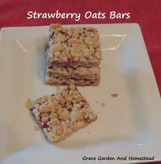 Strawberry Oat Bars. Easy breakfast or treat recipe with all ingredients found in my homestead pantry. Has potential for using other berries for this as well.