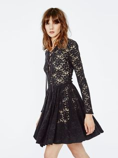 ROBBY Black Wool #Lace #Dress.