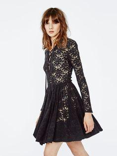 ROBBY Black Wool #Lace #Dress.