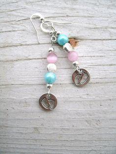 Adorable Baby Footprints Charm Earrings by KrystalKlarityBeads