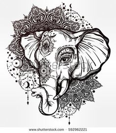 Decorative vector elephant with tribal mandala ornaments. Ideal ethnic background, tattoo art, yoga, African, Indian, Thai, spirituality, boho design. Use for print, posters t-shirts textiles
