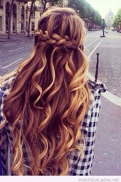Half up Half Down for curly hair with braid