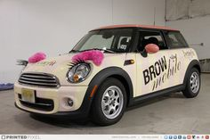 Benefit Cosmetics - Mini Cooper Brow Mobiles printed on Avery vinyl, complete with real eyelashes and eyebrows.