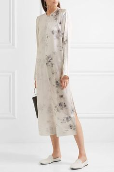 Ivory and tonal-gray silk crepe de chine  Concealed hook-fastening keyhole at back  100% silk  Dry clean Designer color: Charcoal Faded Made in Italy