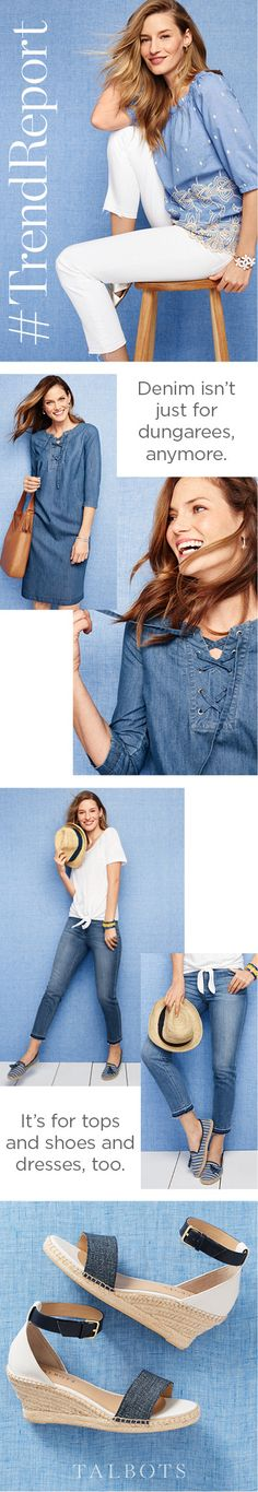Style the denim trend your way, from denim espadrilles to dresses and handbags.