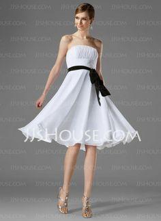 Vestidos de madrinha -Vestidos princesa/ Formato A Sem alça Na altura do joelho Tecido de seda Vestidos de madrinha com Pregueado Cinto