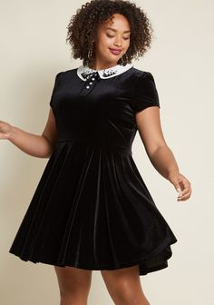 Black Plus Size Velvet Little Black Dress Dress - Chic black velvet dress by Hell Bunny! The ivory collar - embroidered with a spooky graveyard - is a fun and unique look for a fun style plus size LBD #GetHerStyle #CurvyFashion #PlusSizeFasion #PlusSize #PlusSizeStyle #PlusSizeDresses #Fashionista #FashionBloggers #GetHerLook