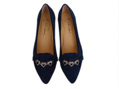 Navy blue suede flats with hearts by MarianaArdavinShoes on Etsy, $106.50