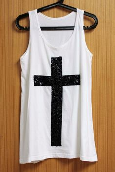 CROSS T Shirts Tank Top Blouse Tunic women sleeveless shirt handmade crystal seed beads sequins