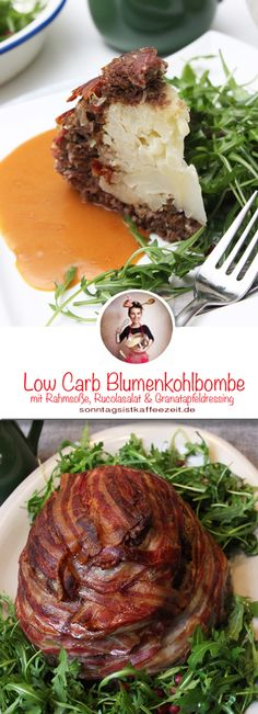 Low Carb Blumenkohlbombe mit Rahmsauce This low carb cauliflower bomb is super simple and easy to prepare. So that it is not too dry, I made a strong cream sauce and added a rocket salad with a pomegranate dressing. Healthy Eating Tips, Healthy Nutrition, Super Simple, Vinaigrette, Sauce A La Creme, Rocket Salad, Grenade, Eat Smart, Fabulous Foods