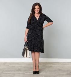 Kiyonna Clothing: Essential Wrap Dress in Charcoal Dot print, happening soon to a Becky near you :)