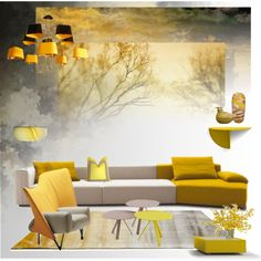 Yellow Sky by snowbell on Polyvore featuring interior, interiors, interior design, home, home decor, interior decorating, Linie Design, iittala, Freestyle and Cassina