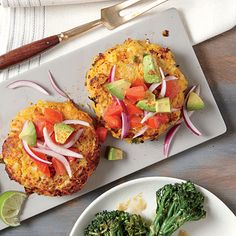 We love the flavors in Sweet Potato and Chickpea Cakes with Avocado Salsa for a meatless meal night. Onion and spicy jalapeno contrast...