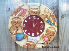Handpainted Gingerbread Clock by Gingerbread Ornaments, Gingerbread Decorations, Gingerbread Man, Christmas Decorations, Holiday Decor, Christmas Wood, Country Christmas, Christmas Candy, Christmas Crafts