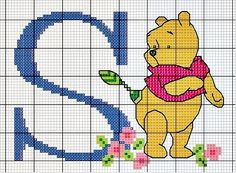 Winnie the Pooh - S Cross Stitch Letters, Cross Stitch For Kids, Beaded Cross Stitch, Cross Stitch Charts, Cross Stitch Embroidery, Embroidery Patterns, Disney Stitch, Doodle Techniques, Crochet Alphabet