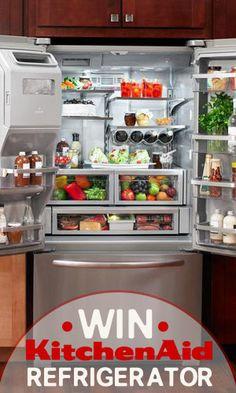 Win a KitchenAid Refrigerator Kitchenaid Refrigerator, Small Places, French Door Refrigerator, Kitchen Ideas, Kitchen Appliances, Events, Organization, Awesome, Board