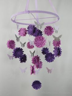 Dahlia and Butterfly Paper Mobile - without the decorative frill on Etsy, $95.00. Would do several shades of pink instead!