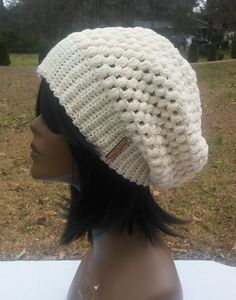 Cream and Gold Puff Stitch Slouch Beanie, Womens, Mens, Unisex, Teens - READY TO SHIP by Meshawnta on Etsy