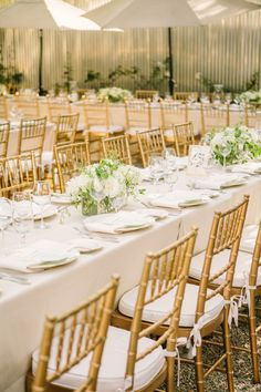 Wedding Table Decor: Gold + Ivory and Greenery | Click to see the wedding on SMP: http://www.stylemepretty.com/2014/02/21/elegant-healdsburg-wedding-at-barndiva/ Matt Edge Wedding Photography