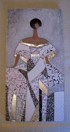 Artesania Laria: Gemälde mit Meninas – Zinn, Stuck, Acryl und Decoupage … - My CMS China Painting, Acrylic Art, Art Plastique, Fabric Painting, Mosaic Art, African Art, Art Techniques, Art Pictures, Collage Art
