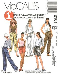 McCall's Pattern 2101-C - Pants, Shorts    Misses' Pull-On Pants or Shorts, Both in Two Lengths. Pants A, B, C or shorts D, E have a drawstring waist and side seam pockets; pants A have cargo pockets and optional drawstrings at ankles.    Copyright 1999.    Size: Xsm-Sml-Med  (4-6, 8-10, 12-14)    Pattern is uncut and in the factory folds.