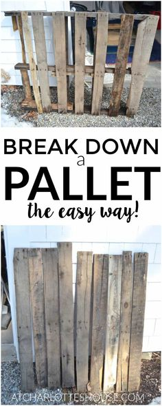 Old Pallets Pallet wood is so great to work with but a pain to take apart. this actual looks super easy! - Wanna see what a pregnant lady looks like breaking down a pallet? This is the post for you! Learn the easiest way to dismantle a wood pallet. Wooden Pallet Projects, Diy Pallet Furniture, Pallet Wood, Diy Projects With Pallets, Pallet Bar, Wood Wood, Wood Pallet Headboards, Ideas For Wood Pallets, Pallet Work Bench