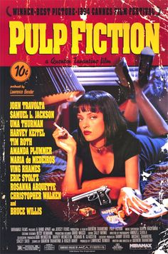 Pulp Fiction (1994) This non-formulaic, defining film of the 1990s was known for its violence, ensemble cast, and pop cultural references. Writer/director Tarantino had co-written the screenplay with Roger Avary, after his earlier first feature Reservoir Dogs (1992) - a preparatory film for this R-rated energetic work, with the same kind of rich and witty dialogue, blood-letting, vulgarities, 'sick' and dark humor, an AM radio pop music soundtrack, and startling action.