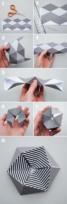 Sarah Pinyan posted Kaleidocycle {aka folding paper toy} + printable template to her -Papercraft- postboard via the Juxtapost bookmarklet. Origami And Kirigami, Origami Paper, Origami 2d, Origami Templates, Box Templates, Oragami, Origami Easy, 3d Paper, Paper Toys